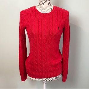 Ralph Lauren Sport red cable knit sweater medium